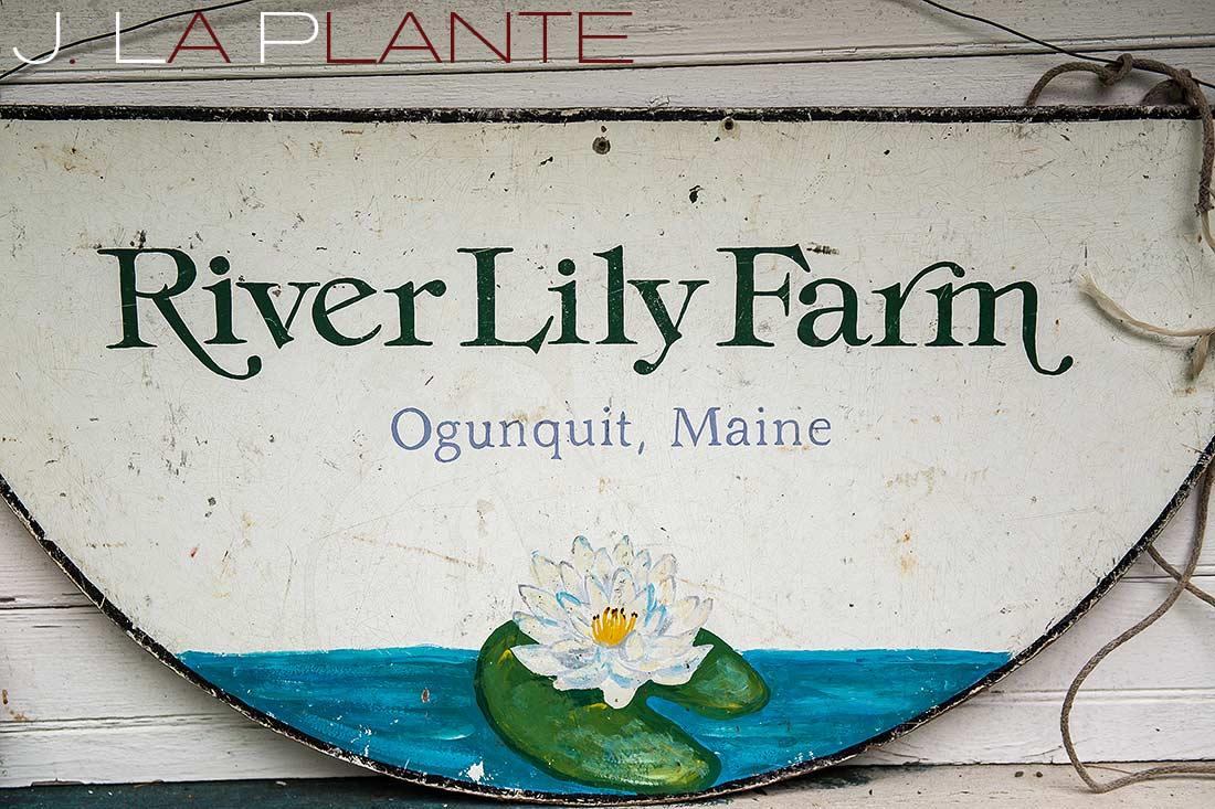 J. La Plante Photo | Destination Wedding Photography | Ogunquit Maine Wedding | River Lily Farm sign