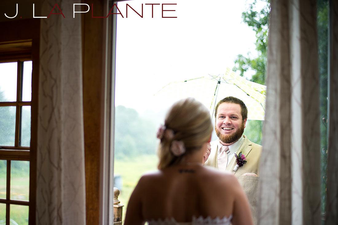 J. La Plante Photo | Destination Wedding Photography | Ogunquit Maine Wedding | Groomsman seeing bride