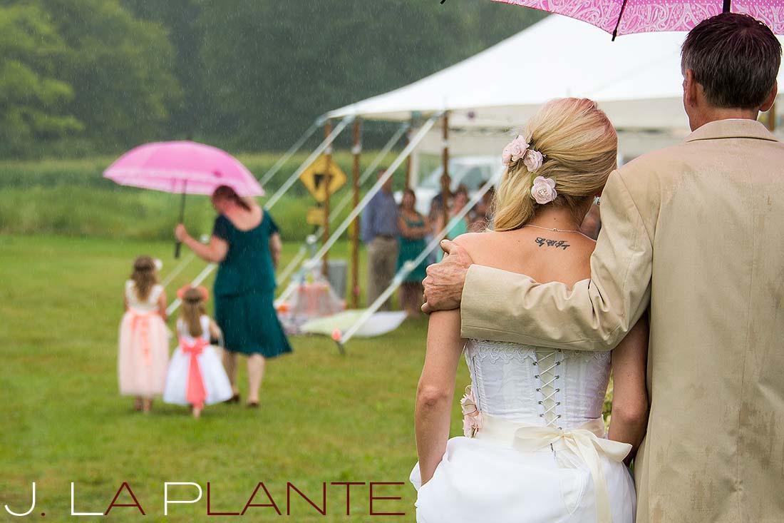 J. La Plante Photo | Destination Wedding Photography | Ogunquit Maine Wedding | Father walking bride down aisle