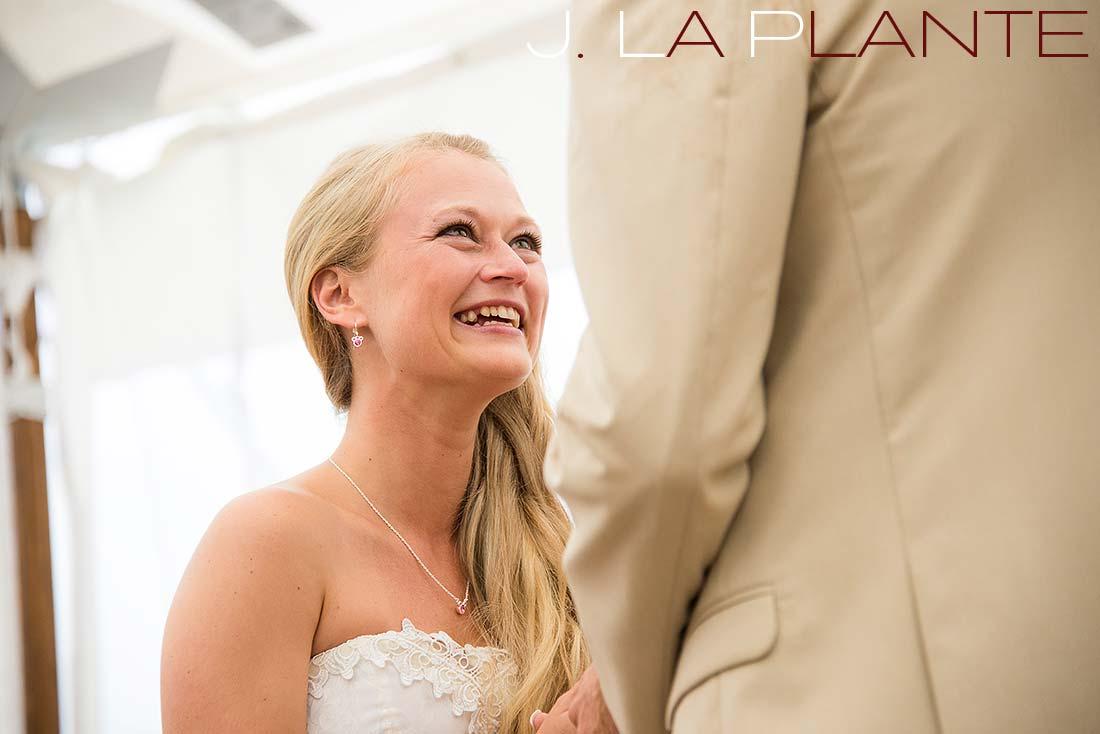 J. La Plante Photo | Destination Wedding Photography | Ogunquit Maine Wedding | Bride saying vows