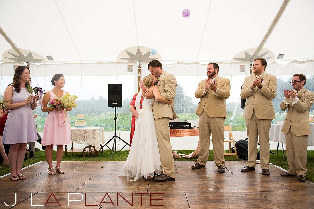 J. La Plante Photo | Destination Wedding Photography | Ogunquit Maine Wedding | Bride and groom embracing