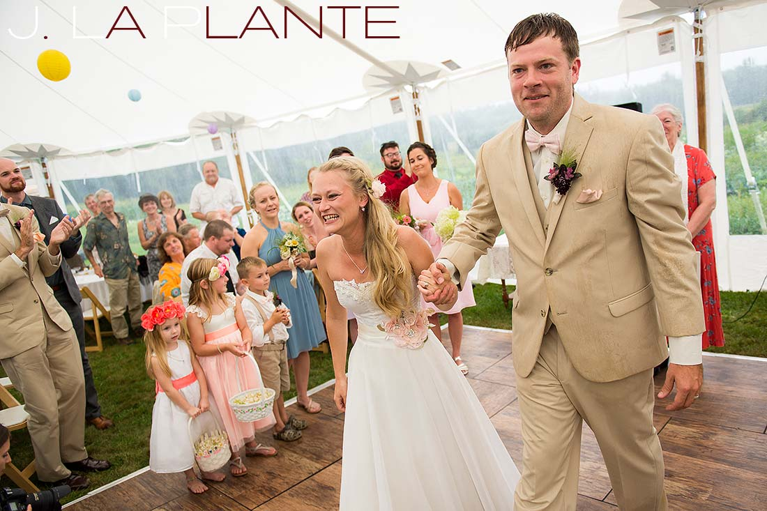 J. La Plante Photo | Destination Wedding Photography | Ogunquit Maine Wedding | Bride and groom being announced