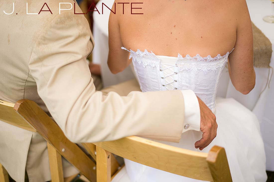 J. La Plante Photo | Destination Wedding Photography | Ogunquit Maine Wedding | Bride and groom at sweetheart table