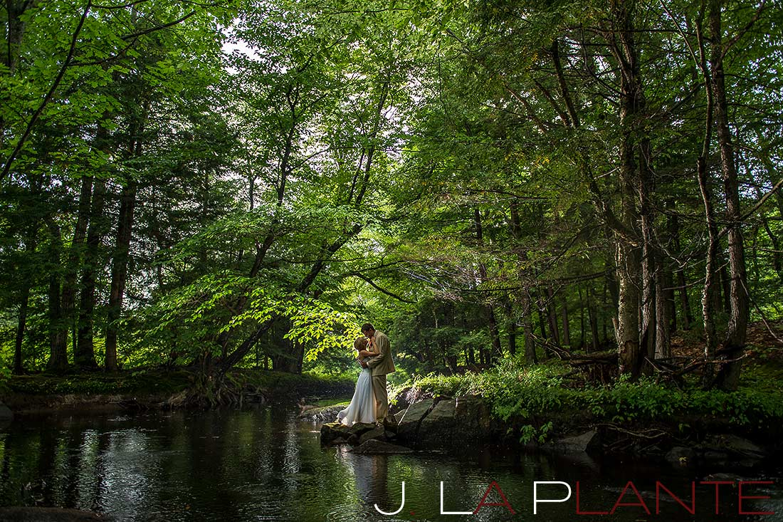 J. La Plante Photo | Destination Wedding Photography | Maine Wedding | Bride and groom in forest