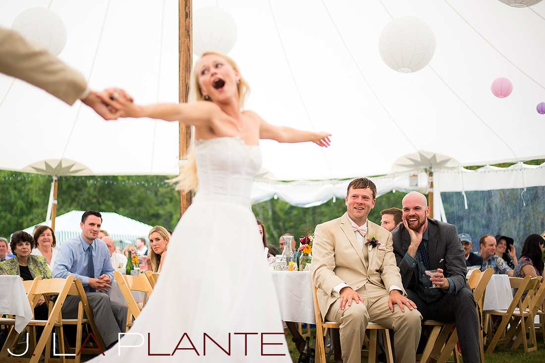 J. La Plante Photo | Destination Wedding Photography | Ogunquit Maine Wedding | Groom watching bride dance with her father