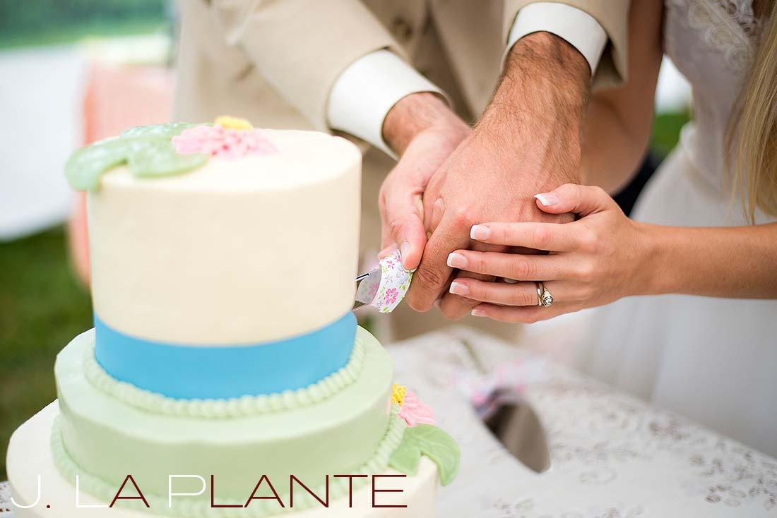 J. La Plante Photo | Destination Wedding Photography | Ogunquit Maine Wedding | Cutting the cake