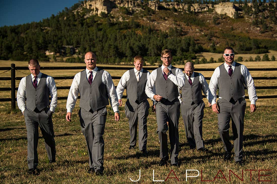 J. La Plante Photo | Colorado Wedding Photography | Spruce Mountain Ranch Wedding | Groom and groomsmen