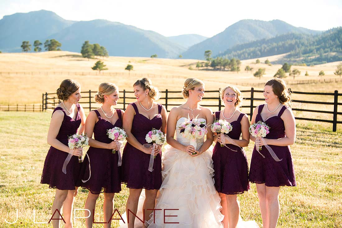 J. La Plante Photo | Colorado Wedding Photography | Spruce Mountain Ranch Wedding | Bride and bridesmaids