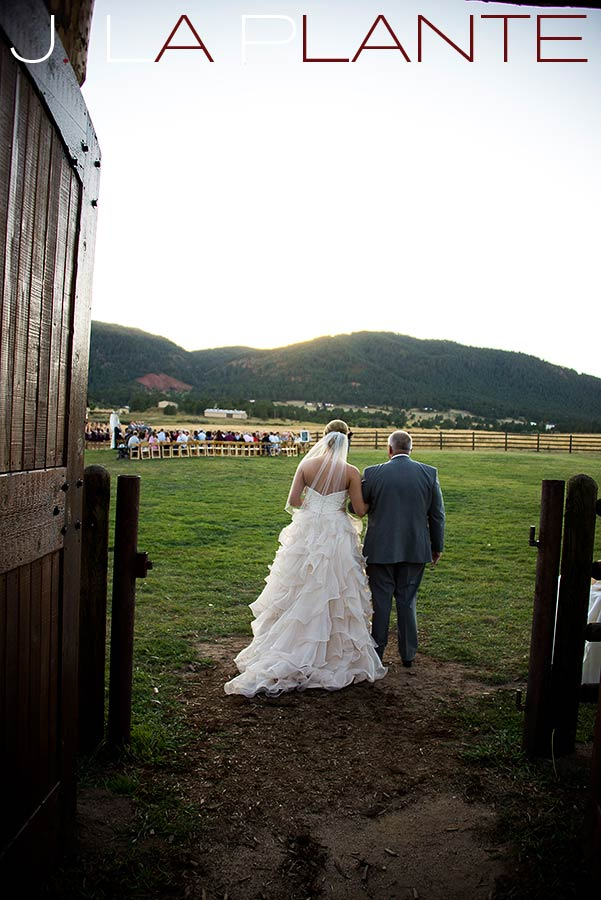 J. La Plante Photo | Colorado Wedding Photography | Spruce Mountain Ranch Wedding | Father walking bride down aisle