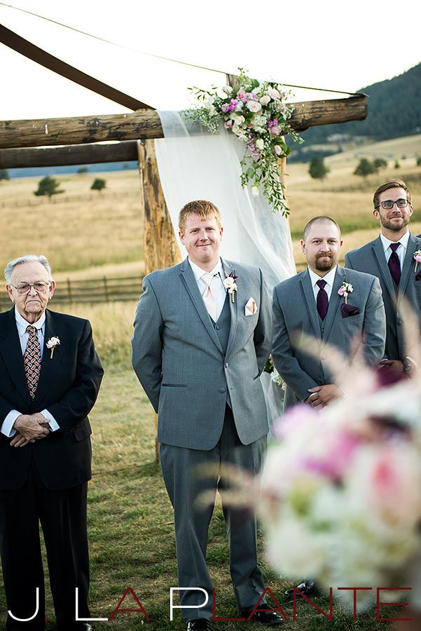 J. La Plante Photo | Colorado Wedding Photography | Spruce Mountain Ranch Wedding | Groom watching bride walk down aisle