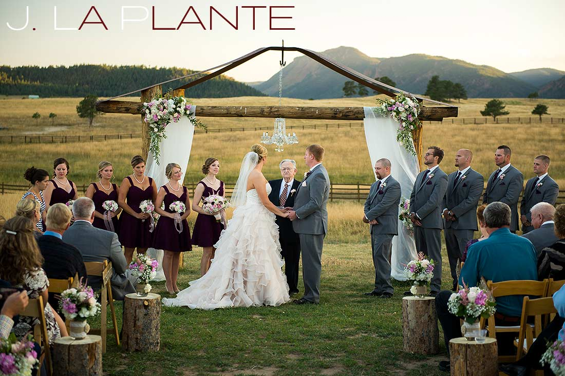 J. La Plante Photo | Colorado Wedding Photography | Spruce Mountain Ranch Wedding | Bride and groom saying vows
