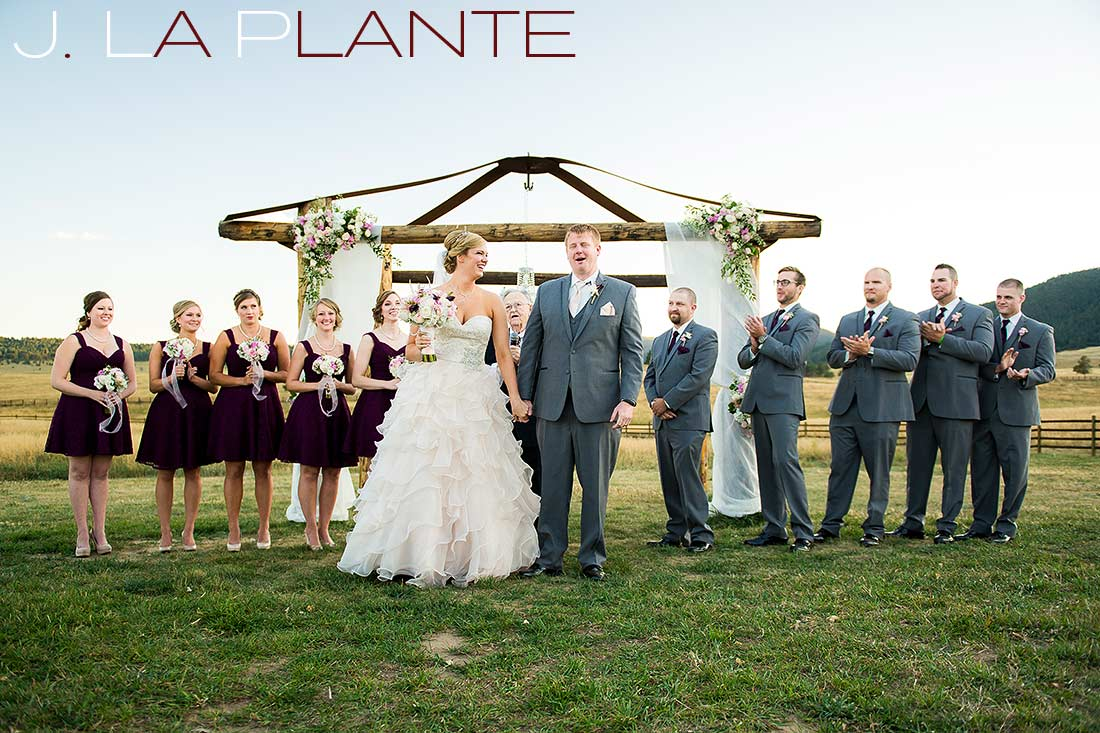 J. La Plante Photo | Colorado Wedding Photography | Spruce Mountain Ranch Wedding | Bride and groom being announced