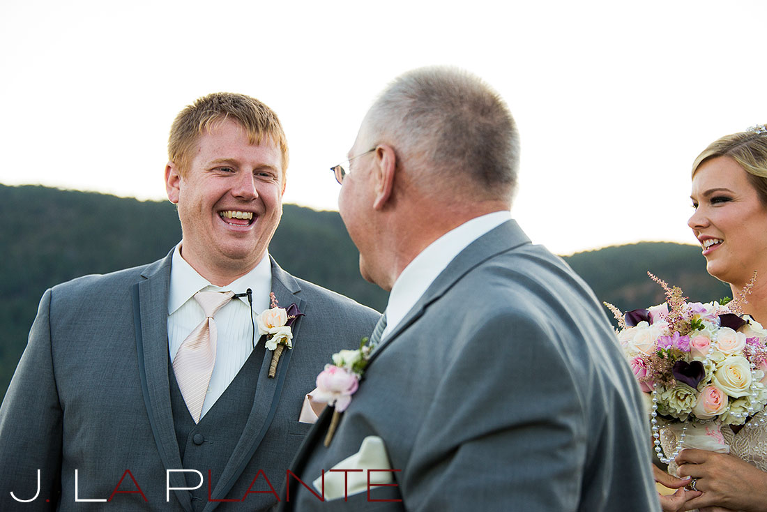 J. La Plante Photo | Colorado Wedding Photography | Spruce Mountain Ranch Wedding | Groom laughing