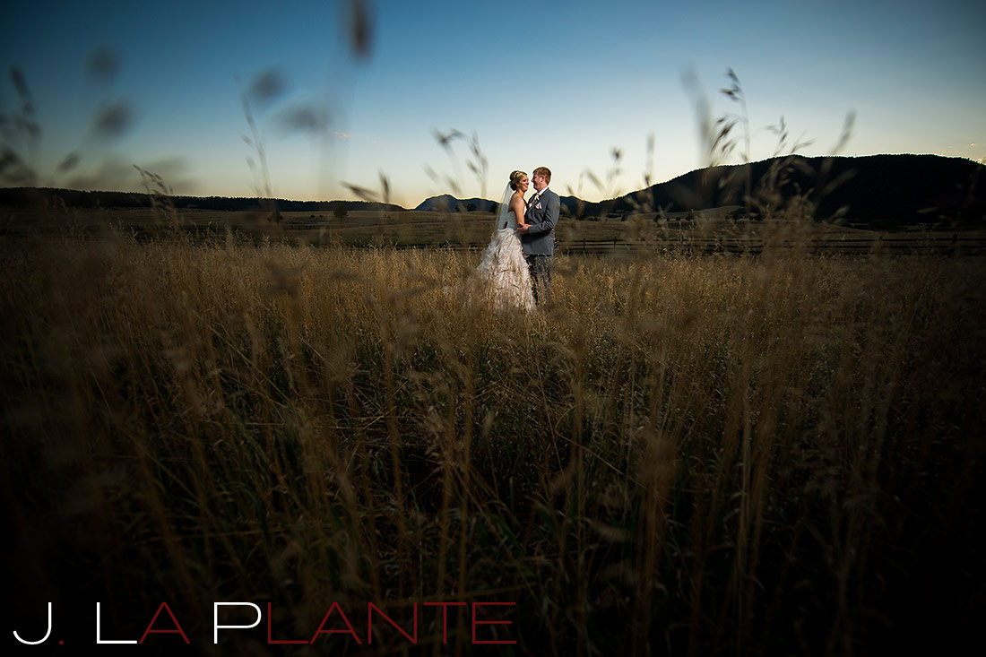J. La Plante Photo | Colorado Wedding Photography | Spruce Mountain Ranch Wedding | Bride and groom in field