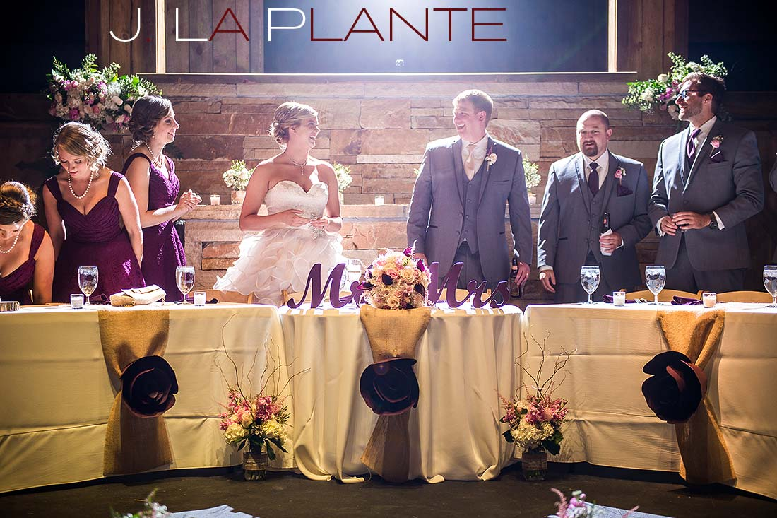 J. La Plante Photo | Colorado Wedding Photography | Spruce Mountain Ranch Wedding | Bride and groom at head table