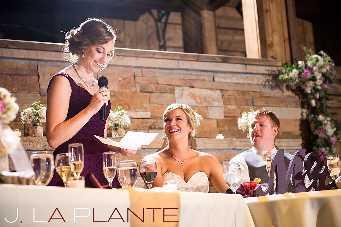 J. La Plante Photo | Colorado Wedding Photography | Spruce Mountain Ranch Wedding | Maid of honor giving toast