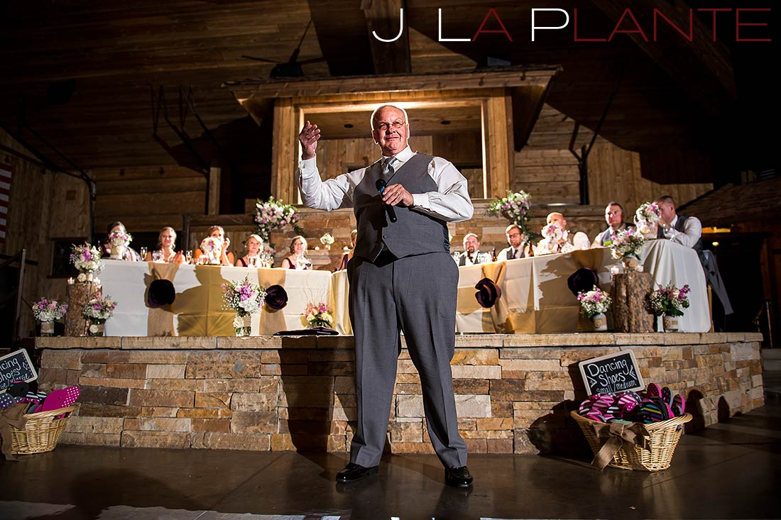 J. La Plante Photo | Colorado Wedding Photography | Spruce Mountain Ranch Wedding | Father of the bride giving toast