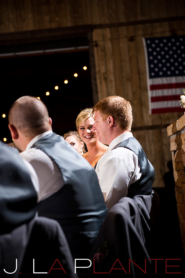 J. La Plante Photo | Colorado Wedding Photography | Spruce Mountain Ranch Wedding | Bride laughing with groom