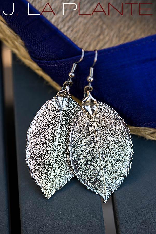 J. La Plante Photo | Aspen Wedding Photography | Aspen Meadows Resort Wedding | Silver leaf earrings