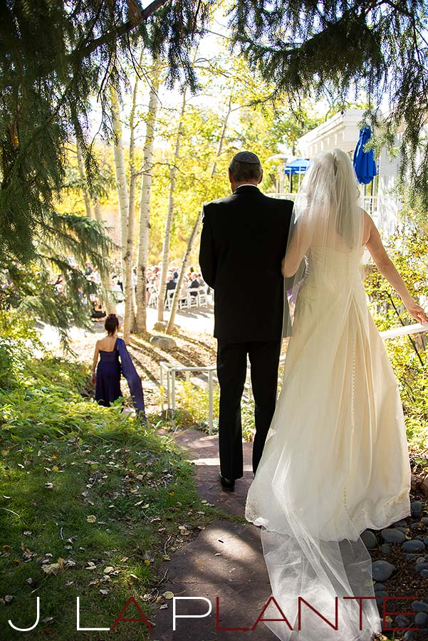 J. La Plante Photo | Aspen Wedding Photography | Aspen Meadows Resort Wedding | Bride walking down aisle