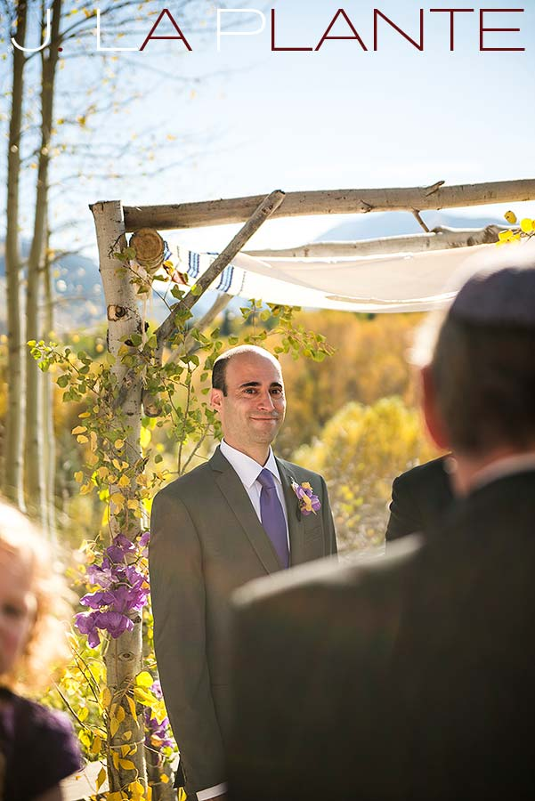 J. La Plante Photo | Aspen Wedding Photography | Aspen Meadows Resort Wedding | Groom seeing bride walking down aisle