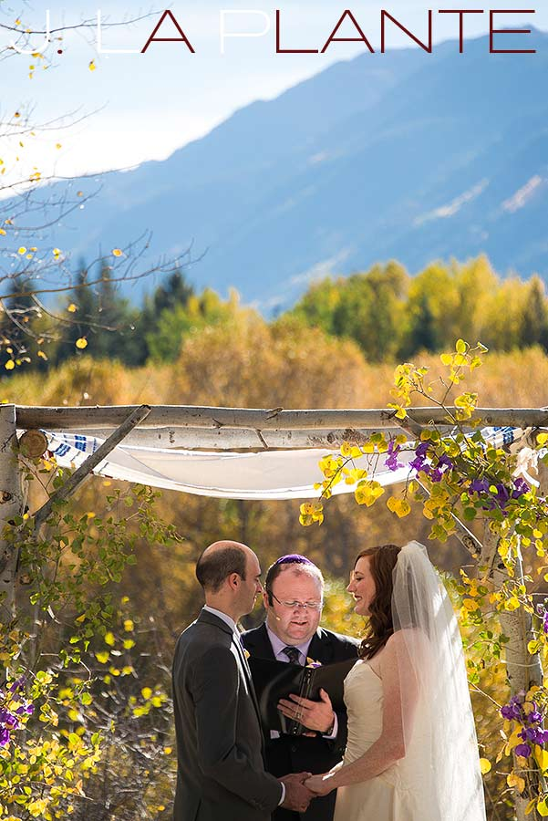 J. La Plante Photo | Aspen Wedding Photography | Aspen Meadows Resort Wedding | Bride and groom saying vows