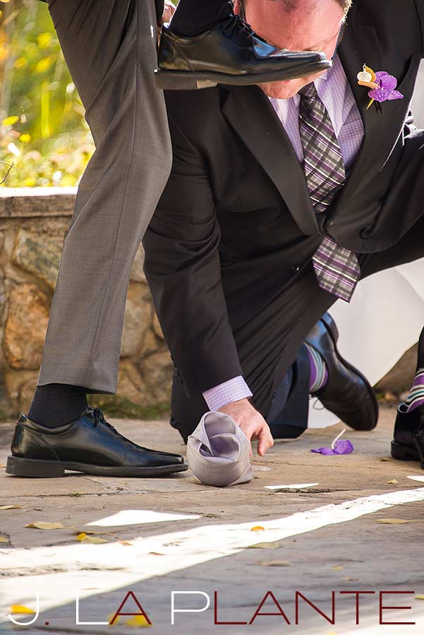 J. La Plante Photo | Aspen Wedding Photography | Aspen Meadows Resort Wedding | Groom breaking glass during Jewish ceremony