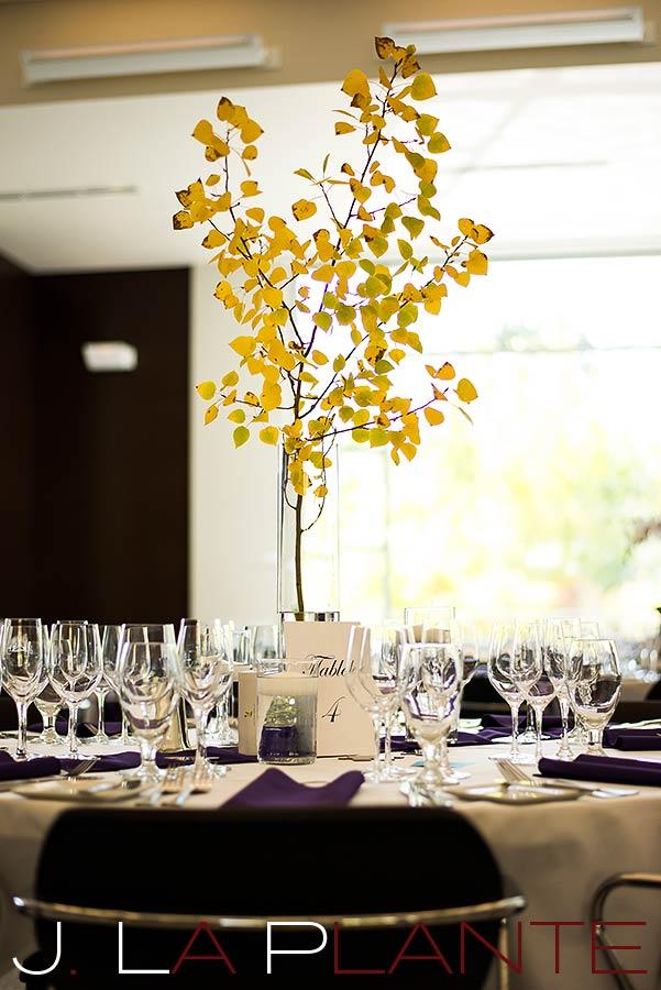 J. La Plante Photo | Aspen Wedding Photography | Aspen Meadows Resort Wedding | Aspen leaf table setting