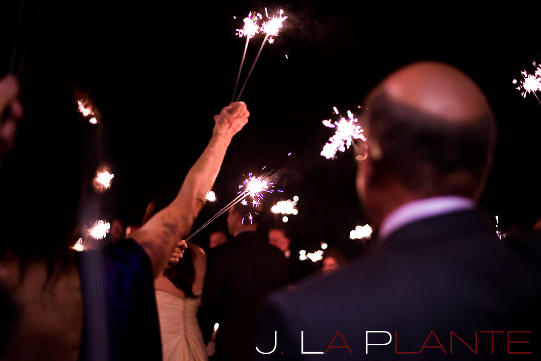 J. La Plante Photo | Aspen Wedding Photography | Aspen Meadows Resort Wedding | Sparkler sendoff