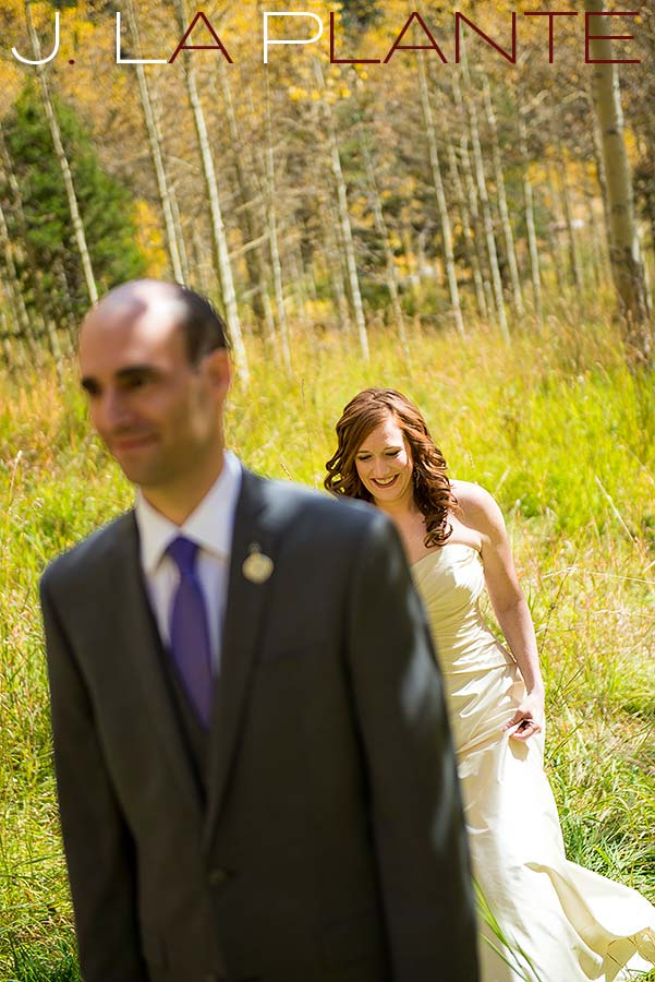 J. La Plante Photo | Aspen Wedding Photography | Maroon Bells Wedding | First look in aspen grove