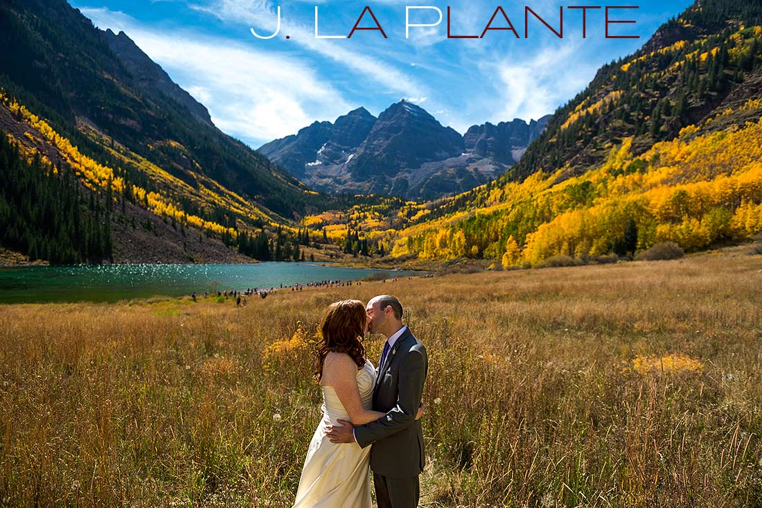J. La Plante Photo | Aspen Wedding Photography | Maroon Bells Wedding | Bride and groom kissing at Maroon Bells