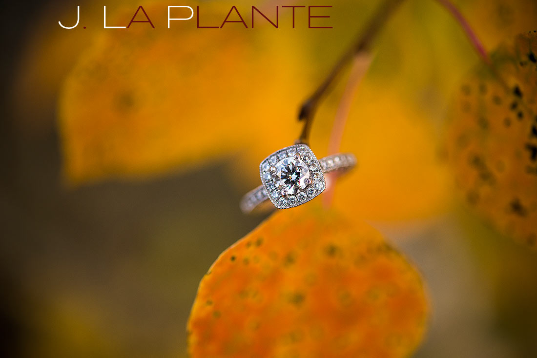 J. La Plante Photo | Denver Engagement Photography | Golden Gate Canyon State Park | Engagement ring on aspen leaf