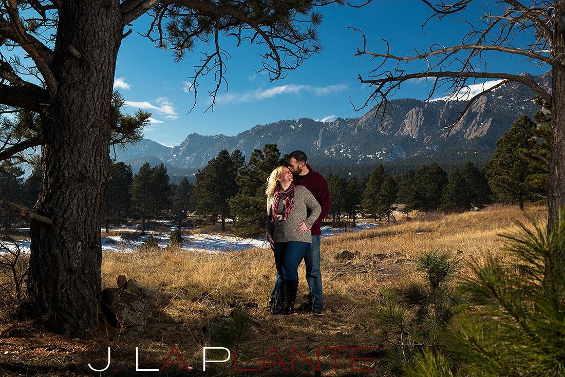Flatiron engagement   Boulder winter engagement photos   J. La Plante Photo