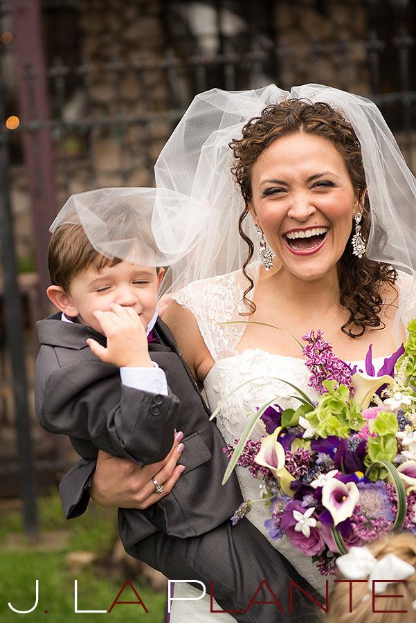 J. LaPlante Photo   Evergreen Wedding Photographer   Brook Forest Inn Wedding   Bride With Ring Bearer