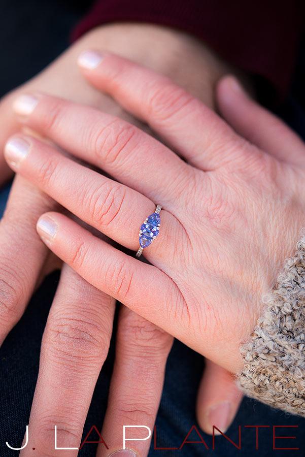 Purple engagement ring   Boulder winter engagement photos   J. La Plante Photo