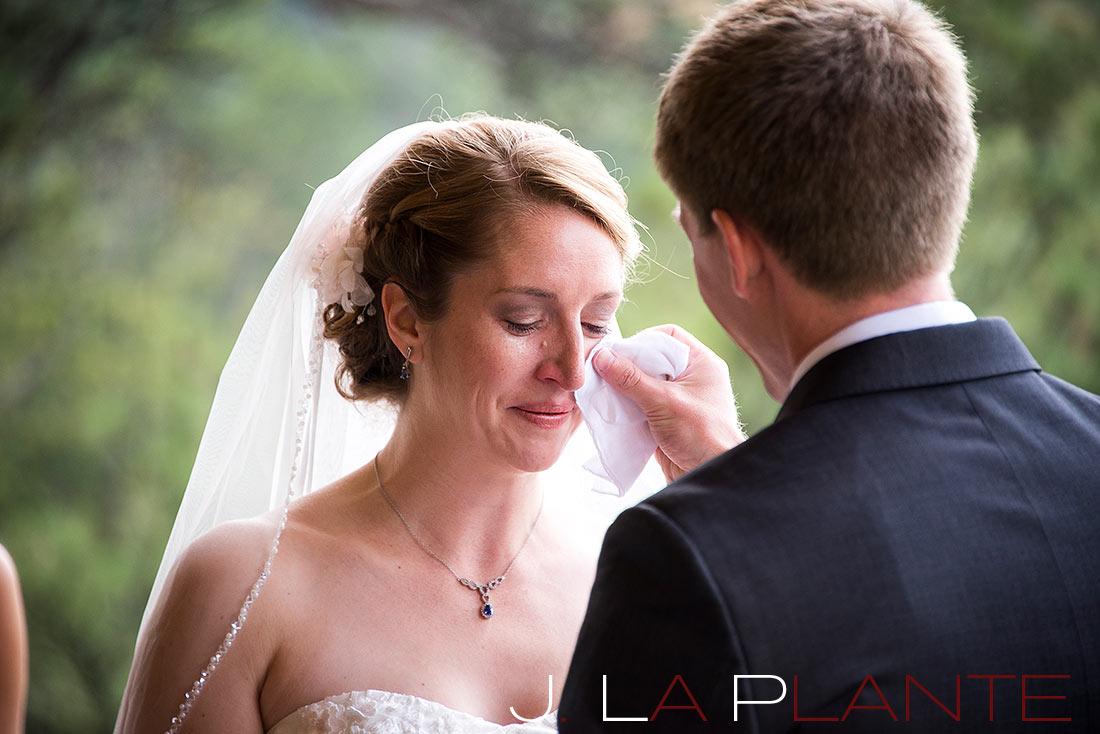 J. LaPlante Photo   Estes Park Wedding Photographer   Black Canyon Inn Wedding   Bride Crying