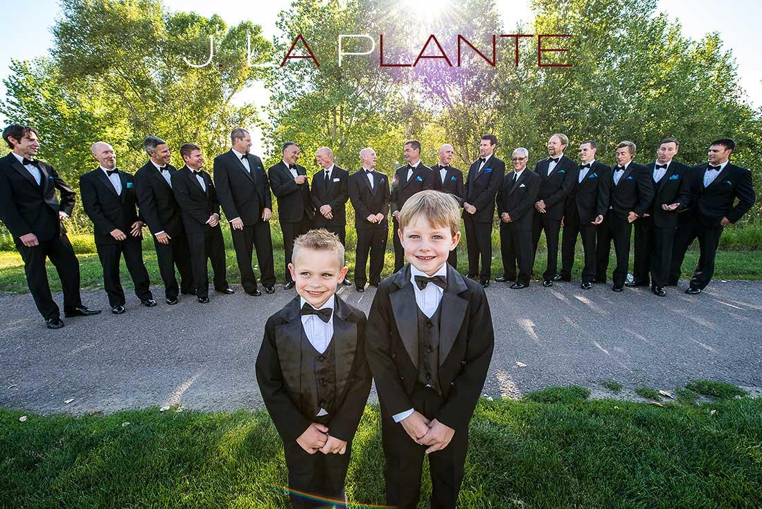 J. LaPlante Photo   Denver Wedding Photographer   Chatfield Botanic Gardens Wedding   Ring Bearers   Groomsmen