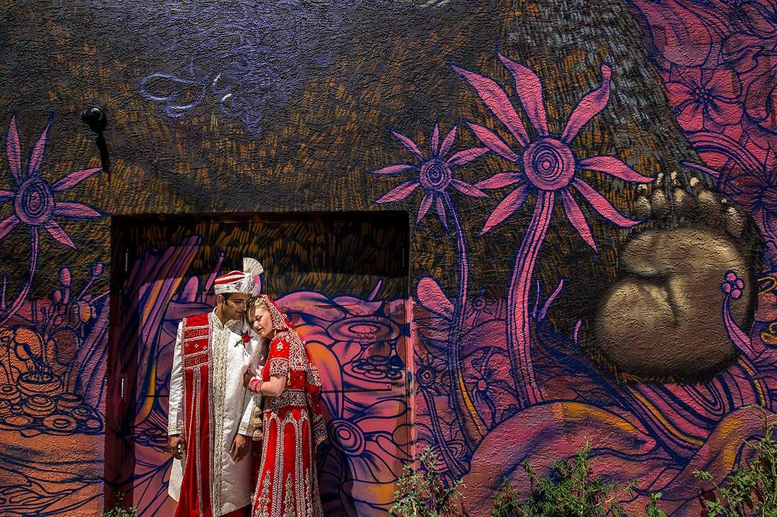 J LaPlante Photo   Pueblo Wedding Photographer   Pueblo Convention Center Wedding   Hindu Wedding   Bride And Groom Graffiti