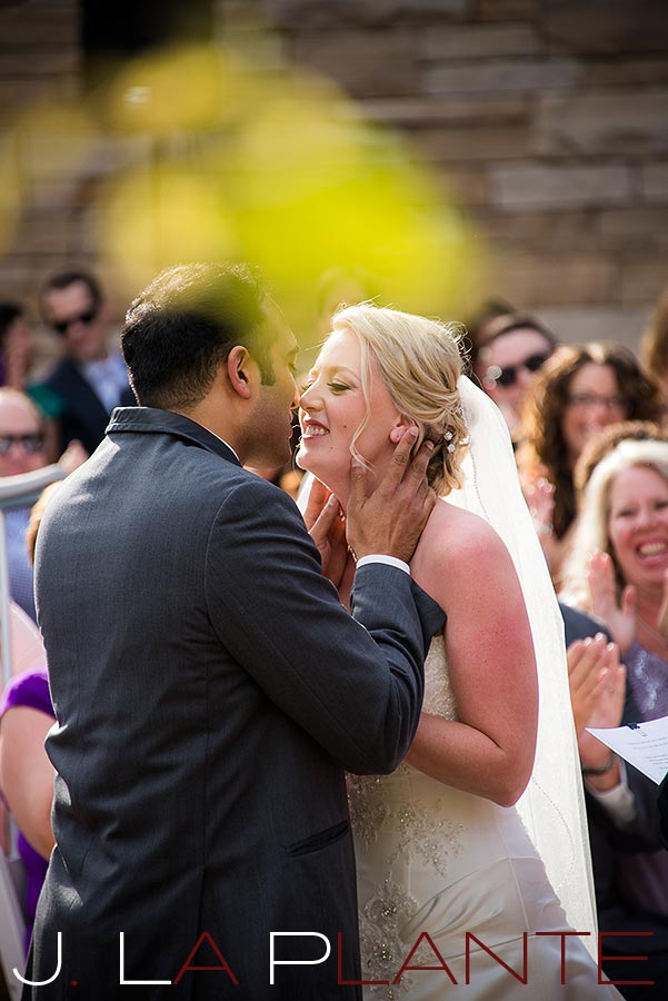 J. LaPlante Photo   Parker Wedding Photographer   Wildlife Experience Wedding   Wedding Kiss