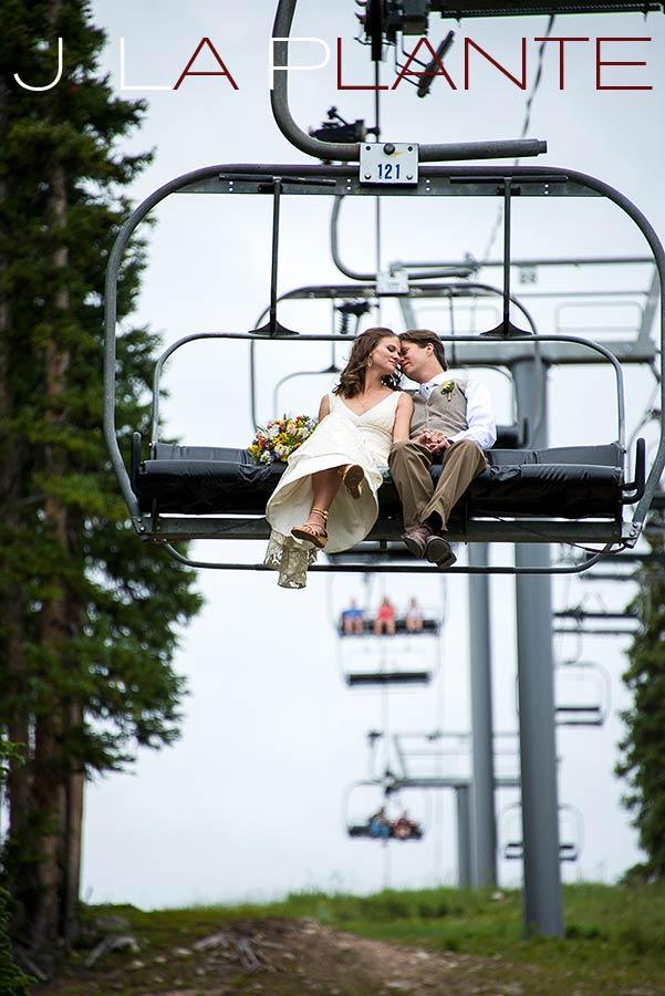 J. LaPlante Photo   Copper Mountain Wedding Photographer   Copper Mountain Wedding   Bride And Groom On Chairlift