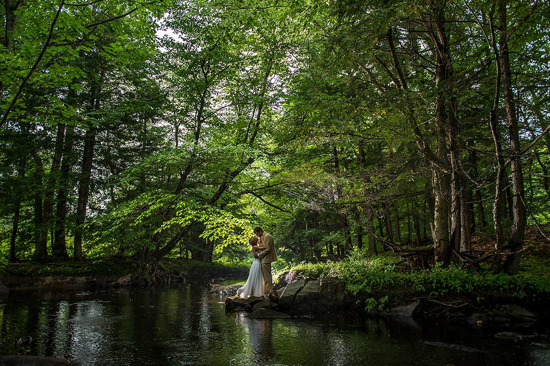 J. LaPlante Photo   Ogunquit Wedding Photographer   River Lily Farm Wedding   Bride And Groom In The Woods