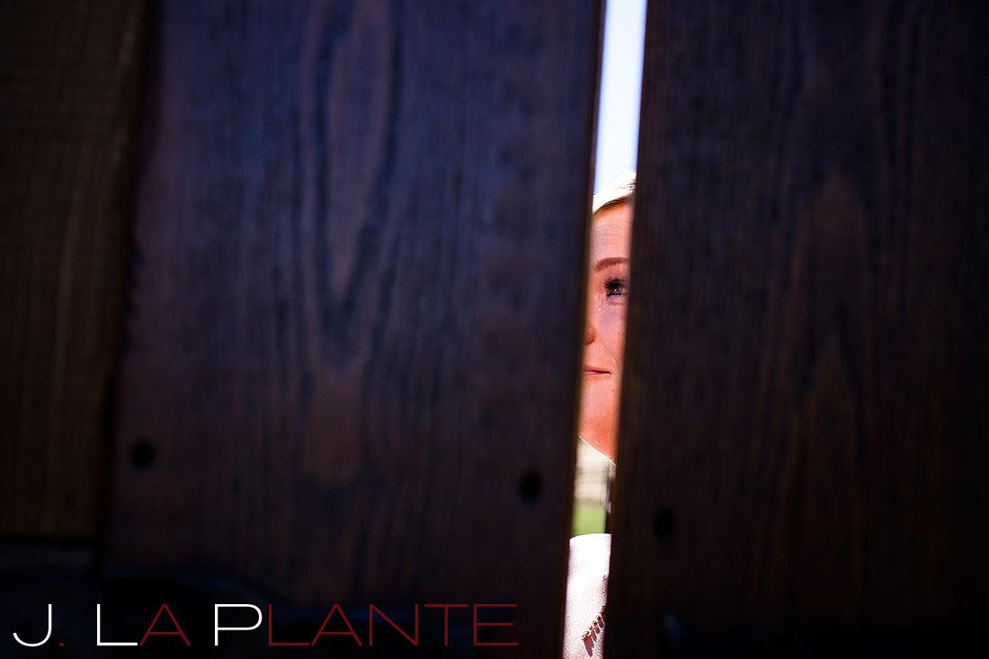 J. LaPlante Photo   Sedalia Wedding Photographer   Spruce Mountain Ranch Wedding   First Look Photo
