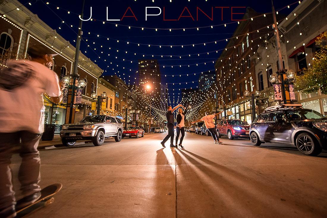 J. LaPlante Photo   Denver Engagement Photographer   Larimer Square Engagement   Couple Dancing In Street