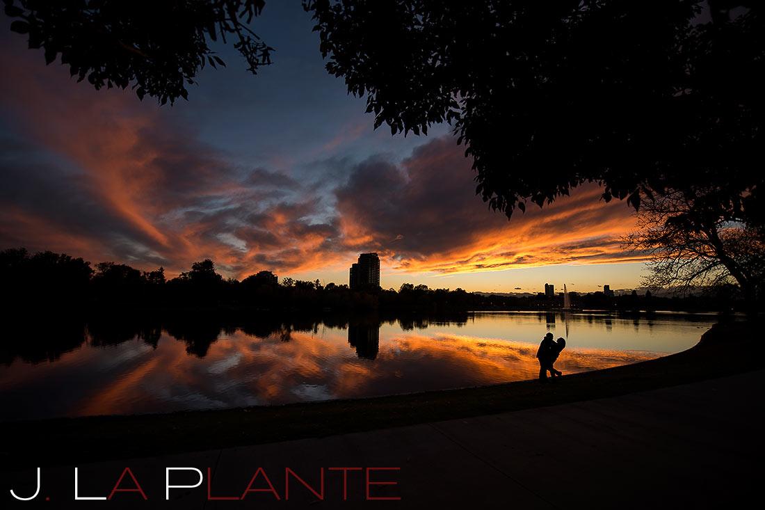 J. LaPlante Photo   Denver Engagement Photographer   City Park Denver Engagement   Sunset Engagement Photo
