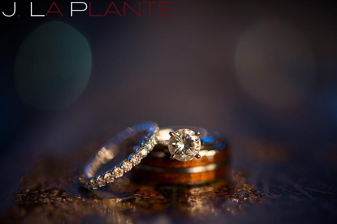 Engagement and wedding rings   Mile High Station Wedding   Denver Wedding Photographer   J. La Plante Photo