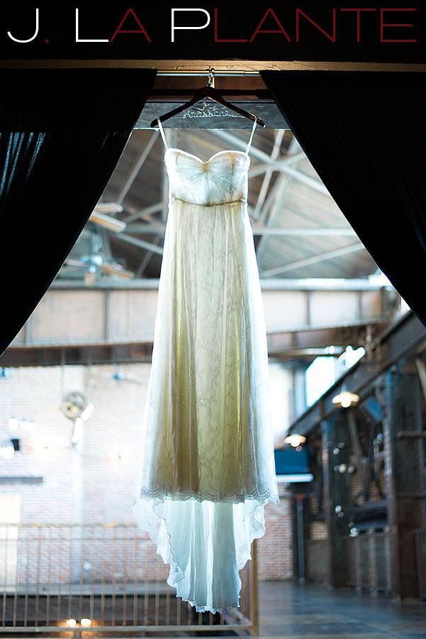 Flowy wedding dress   Mile High Station Wedding   Denver Wedding Photographer   J. La Plante Photo