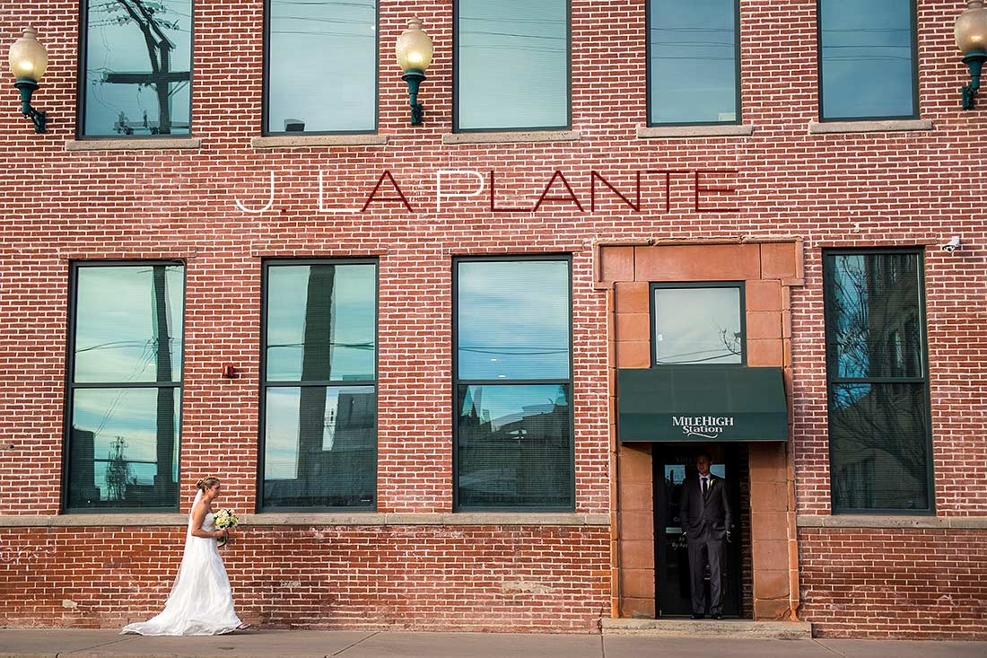 Emotional first look   Mile High Station Wedding   Denver Wedding Photographer   J. La Plante Photo