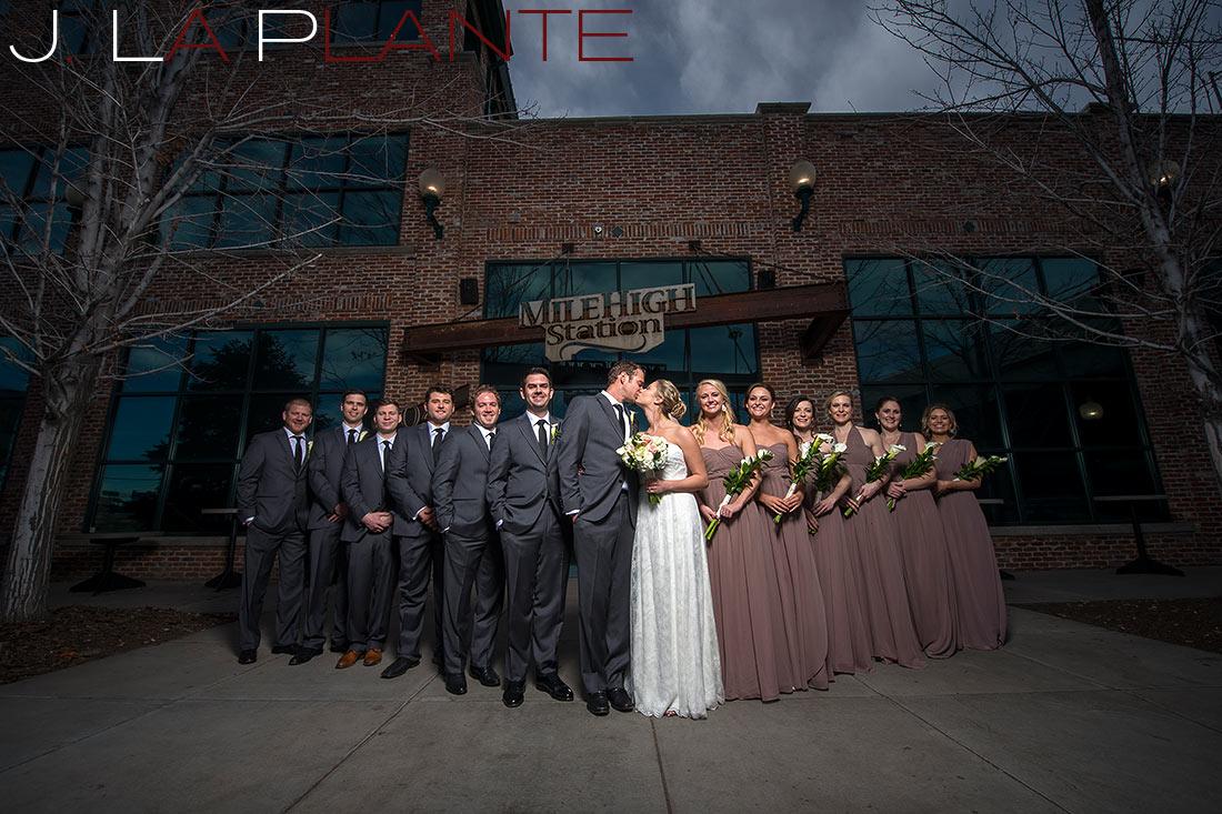 Wedding party photo   Mile High Station Wedding   Denver Wedding Photographer   J. La Plante Photo