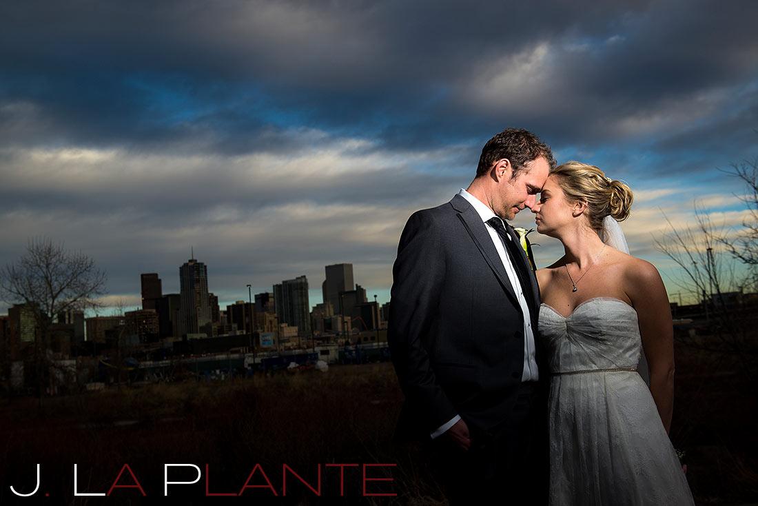 Denver skyline wedding photo   Mile High Station Wedding   Denver Wedding Photographer   J. La Plante Photo