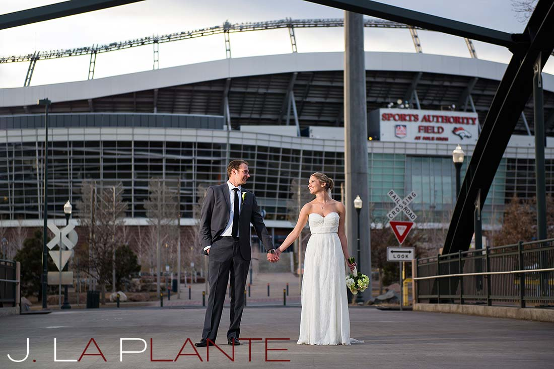 Denver Broncos wedding photo   Mile High Station Wedding   Denver Wedding Photographer   J. La Plante Photo